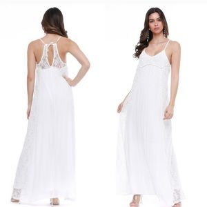 New Long White Lace Open Back Summer Maxi Dress